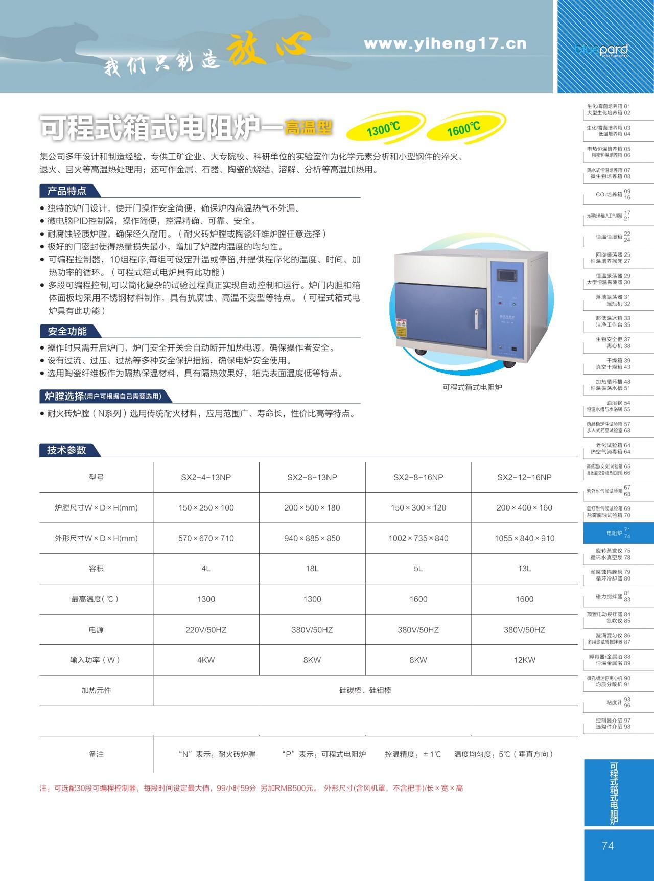 上海一恒可程式箱式电阻炉(高温型)